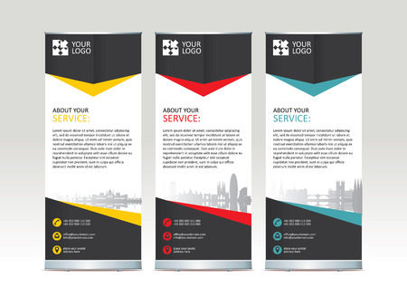 Roll up banner stand template design - vector illustration