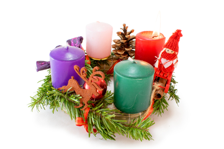Advent Wreath on White Background