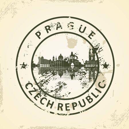 Grunge rubber stamp with Prague Skyline - vector illustration