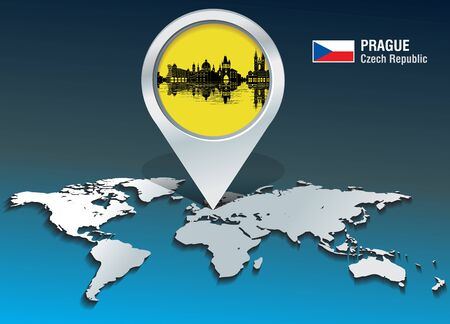 Map pin with Prague Skyline - vector illustration Ilustrace