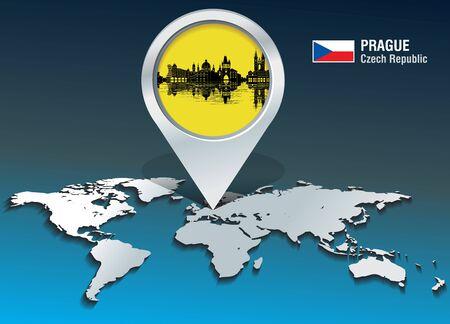 Map pin with Prague Skyline - vector illustration Illusztráció