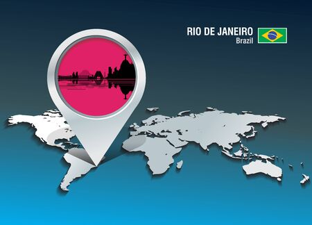 Map pin with Rio de Janeiro skyline - vector illustration Illustration