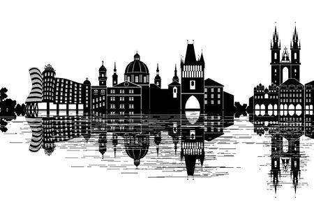 Prague Skyline - black and white vector illustration