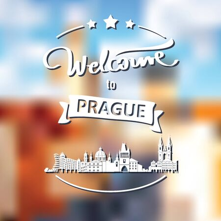 Tourism label with skyline, text Welcome to Prague - vector Ilustrace