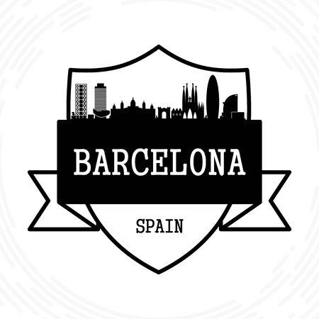 Barcelona skyline - black and white vector illustration