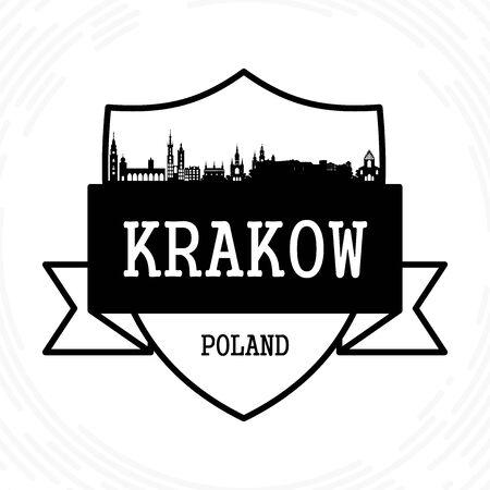 Krakow skyline - black and white vector illustration Ilustração