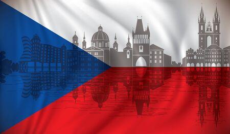 Flag of Czech Republic with Prague skyline - vector illustration Illusztráció