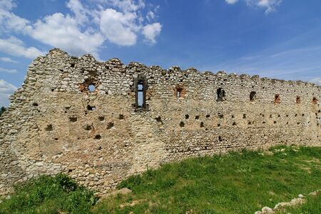 Cachtice Castle ruin from 13th century in Carpathians, Slovakia, Place associated with bloody countess