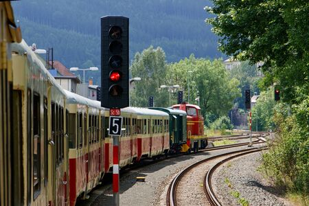 TANVALD, CZECH REPUBLIC - JUNE 20th 2019: The Rack Railway historical train in Tanvald rail station. Reds on all signals. Redakční