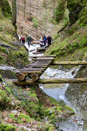 Group of hikers in Sucha Bela gorge in natural park Slovak Paradise, Slovakia. Adventure trail with wooden ladders above flowing creek. Mild winter without snow. Winter hiking in ravine concept.