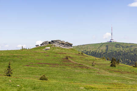 Panoramic view of Petrovy kameny rock formation. Venue for witches' covens in past. TV tower on Praded in background. Summer sunny day in Jeseniky mountains, Czech Republic. Zdjęcie Seryjne