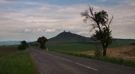 Distant view of Hazmburk castle. A dominant landmark of the Central Bohemian Uplands, Czech Republic.