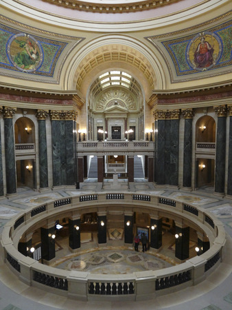 second floor: The second floor of the Wisconsin State Capital Building.