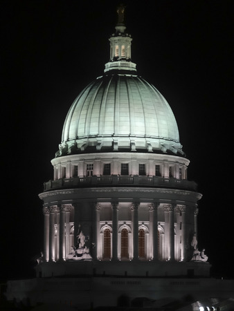 nite: The Capital Building in Madison Wisconsin lit up at night. Stock Photo