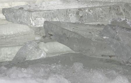 stock photography 미시간 호수의 해 안에 파도 의해 쌓여 맑은 얼음의 석판의 스택.