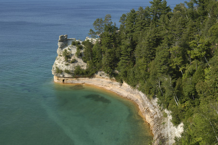 Miner�s Cave at Pictured Rocks National Park in Michigan just out into the waters of Lake Superior Stock Photo