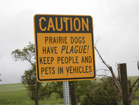 Sign warning to stay away from prairie dog towns, and the animals themselves, because they might contain the plague! 版權商用圖片 - 37148762