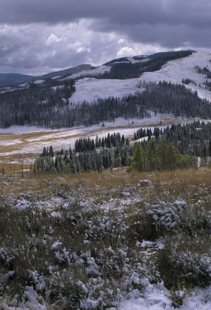 snows: After a late fall snowstorm snow dust the hills and valleys of Yellowstone National Park.  Winter is on its way.
