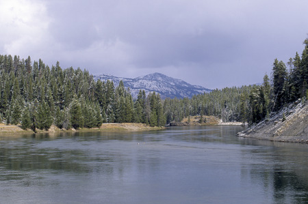 begun: The land around the Yellowstone River is dusted with snow.  Winter has just begun to arrive in the Rocky Mountains of Yellowstone National Park. Stock Photo