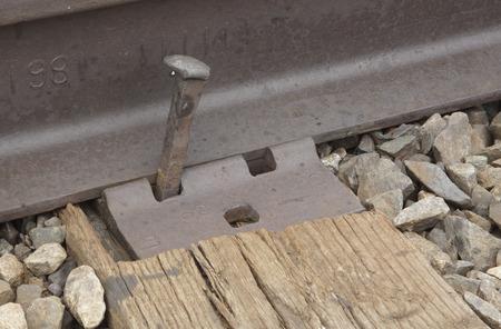 ferrocarril: Un punto del ferrocarril se ha aflojado Foto de archivo