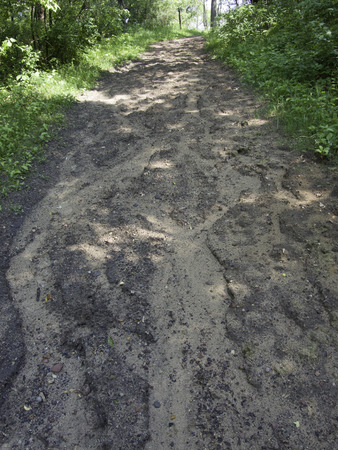 washed out: Heavy rains have washed out this walking trail.