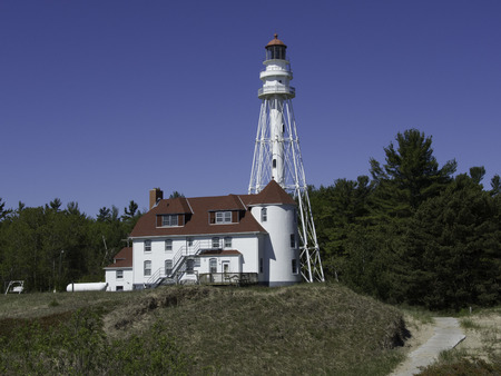 lake michigan lighthouse: Rawley Point Lighthouse on the Wisconsin side of Lake Michigan. Foto de archivo