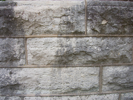 Limestone block and mortar make up the foundation of a local church.