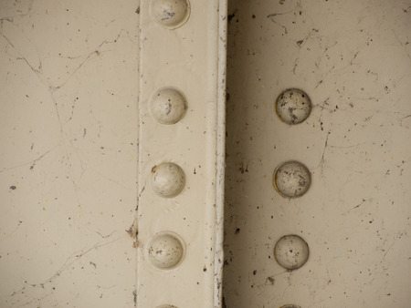 rivets: Painted metal rivets on the girders of a bridge are surrounded by old cobwebs.