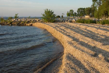 Windrowed Zebra 홍합 (Dreissena polymorpha) 포탄은 호수 기슭에 파도에 의해 쌓여있다. 스톡 콘텐츠