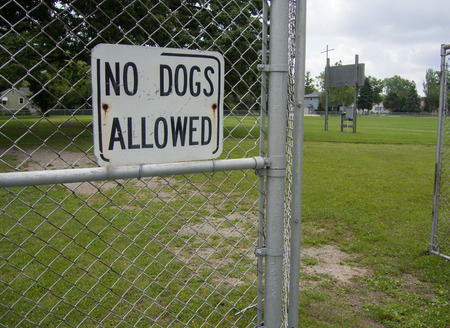 posted: No Dogs Allowed sign posted next to a chain-link fence gate at the entrance to a park to keep pets out.