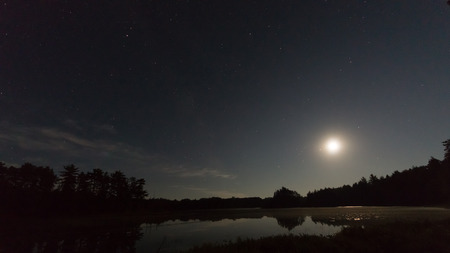 The summer moon sits low on the horizon in a starry night sky over a quiet lakes surrounded by pine trees.