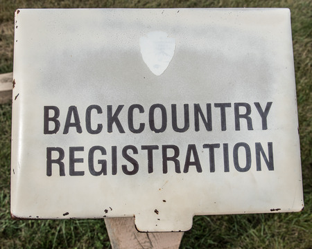 arri�re-pays: Those who enter the backcountry for backpacking, hiking, and camping should sign the registration book located in this steel box.