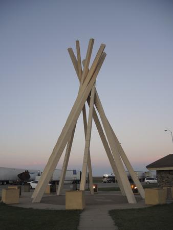 teepee: Concrete teepee at South Dakota wayside along Interstate 90 at sunrise. Stock Photo
