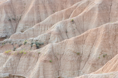Detail of the rock soil geologic features of Badlands National Park.  In this dry environment grass and sage brush cling to rock, barely surviving.