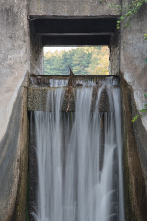 Waters streams over the spillway of a small concrete dam that blocks Hartman Creek and forms a small lake.