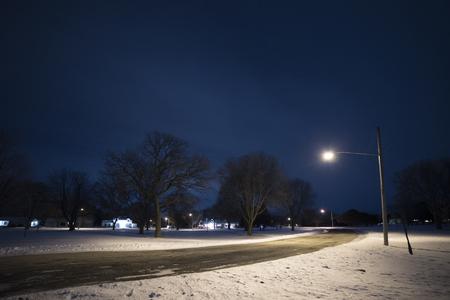 Straatlantaarn verlicht de weg en sneeuw in de nacht.