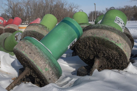 Colorful red and green buoys laying shore in the winter.  The bottom of the buoys are covered in a crust of invasive Zebra Mussel shells.