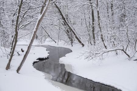 Waukau Creek slingert zich door een winter wonderland van verse sneeuw. Winnebago County, Wisconsin