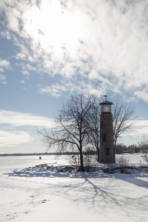 Asylum Point Lighthouse in winter.