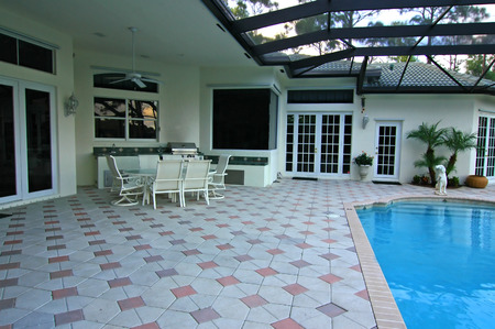awning: Patio and swimming pool