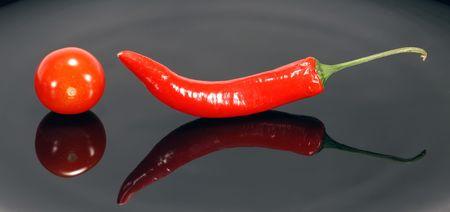 vegetate: Chilli And Cherry Stock Photo