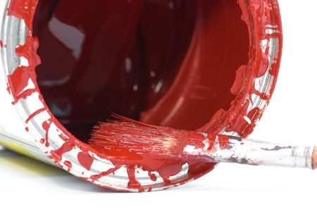 red paint and old used brush shallow dept of field Stock Photo - 6154057