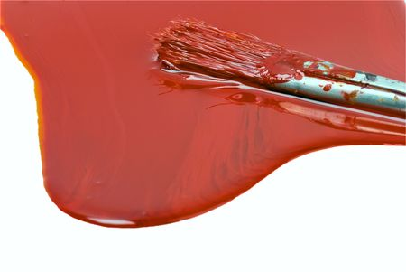 red paint and old used brush shallow dept of field Stock Photo - 6154059