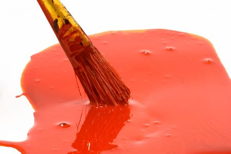 red paint and old used brush shallow dept of field Stock Photo - 6154055