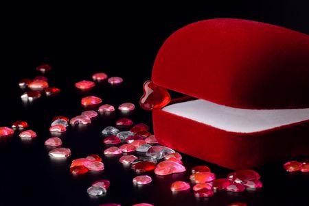 Velvet jewelery box and crystal hearts photo