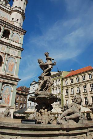 Fountain at old market. Poland, Poznan photo