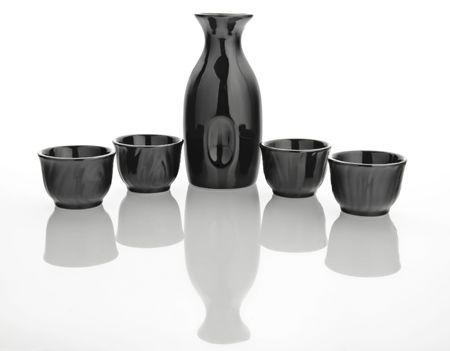 sake: Un estilo japon�s tradicional sake establecido para cuatro personas  Foto de archivo