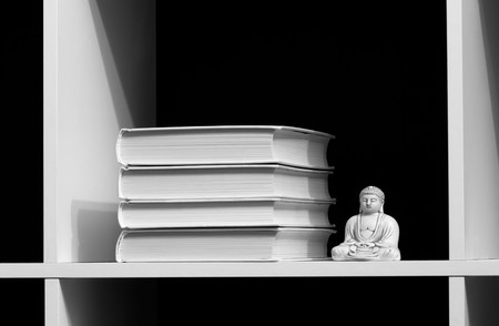 Books on a shelf and buddha over dark. WB image Stock Photo - 7097987