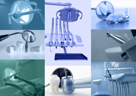 dental tools: Dental background. Set of dental images blue tinted