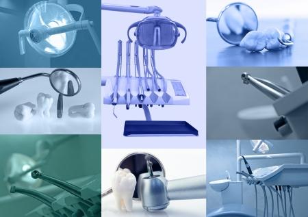 higiene: Fondo dental. Conjunto de im�genes dentales azules tintado  Foto de archivo